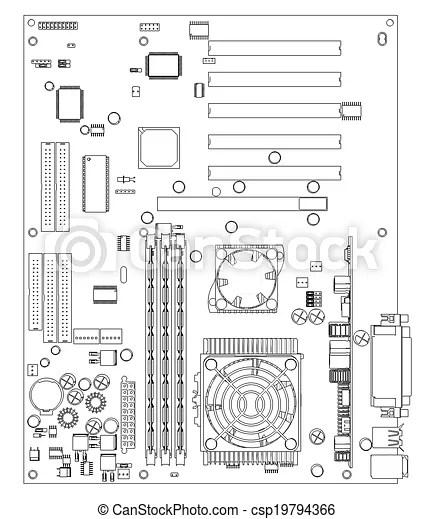 Motherboard. wire frame render. Motherboard. wire frame