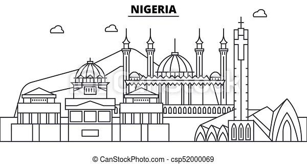 Nigeria architecture skyline buildings, silhouette