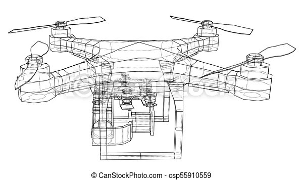 Qadrocopter or drone. vector rendering of 3d. wire-frame