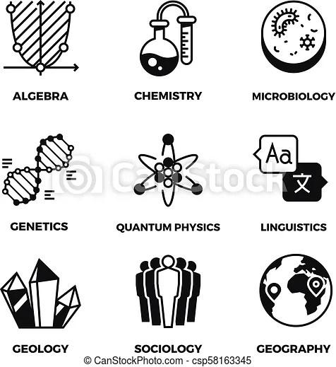 Science vector pictograms. genetics, algebra, chemistry