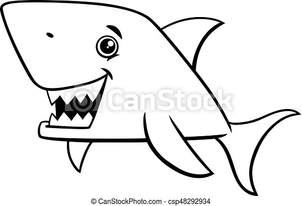 Shark fish coloring page. Black and white cartoon