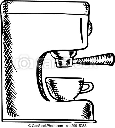 Sketch of an espresso coffee machine. Black and white