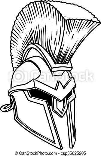 Spartan ancient greek helmet. A warriors ancient greek