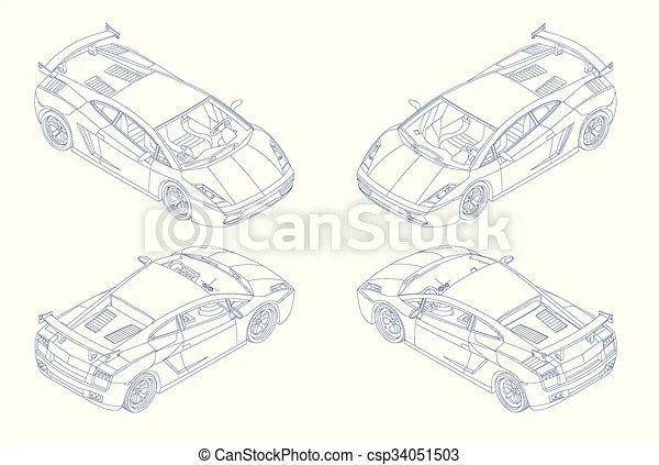 Sports car isomectric view vector. Contour sport car