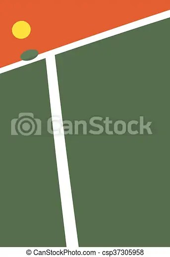 Vector illustration of the tennis court ball point
