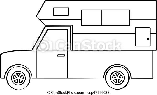Truck camper. A line drawing of a truck camper.