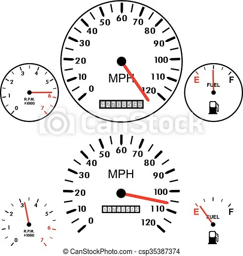 Vector car dashboards with tachometer, speedometer and