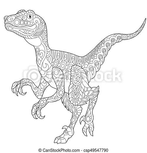 Zentangle velociraptor dinosaur. Coloring page of