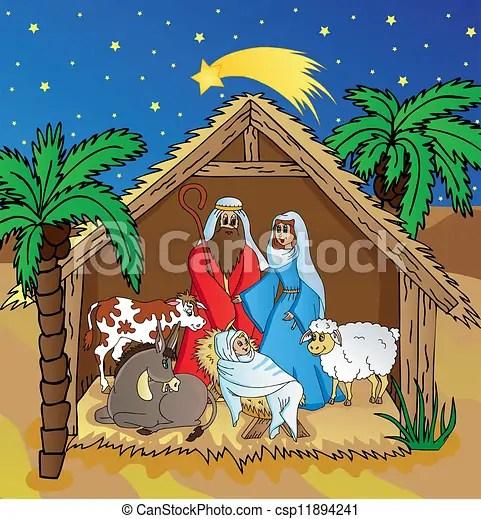 Vettore EPS di Betlemme paesaggio notte  Betlemme in notte paesaggiocsp11894241