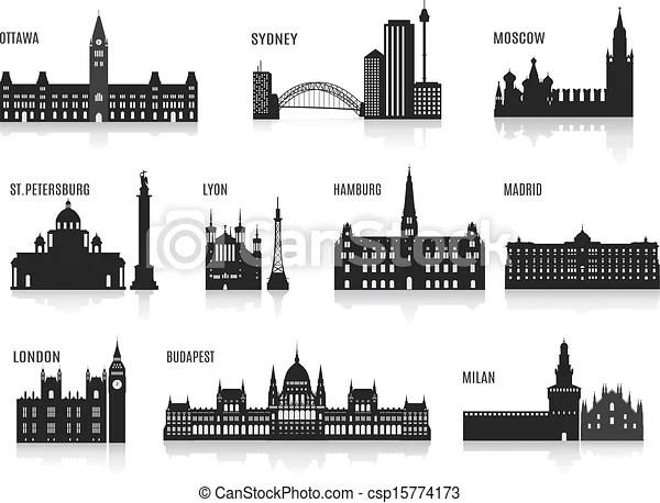 Illustrazioni vettoriali di silhouette citt  silhouette di citt set per lei