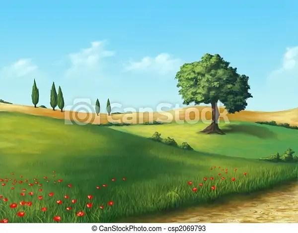 Disegni di sereno paesaggio  Terreno coltivato in