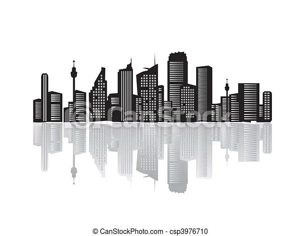 Clipart vettoriali di citt paesaggio silhouette di Case nerocsp3976710  Cerca clipart