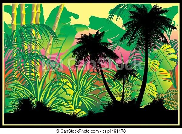 Vettore di giungla  silhouette di palme su  giungla fondocsp4491478  Cerca clipart