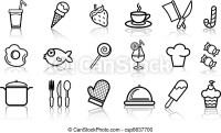 Archivio illustrazioni di cibo, colorare, set, icona ...