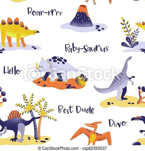 dinosauri carta da parati per bambini 2017. Carino Tessuto Tessile Dino Carta Da Parati Pattern Seamless Stampa Dinosauri Vettore Fondo Bambino Cartone Canstock