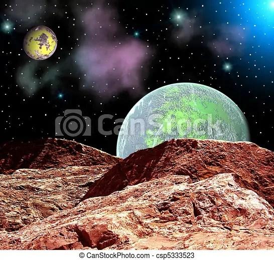 Fantastico cosmico paesaggio Paesaggio cielo pianeta spazio stella 3d notte