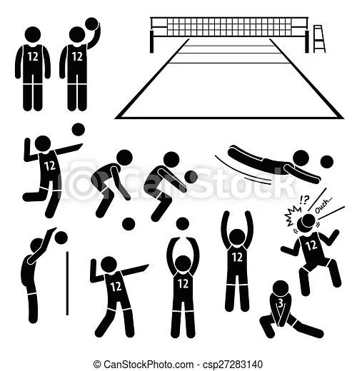 Giocatore, pallavolo, azioni. Set, stickman, pictogram, là