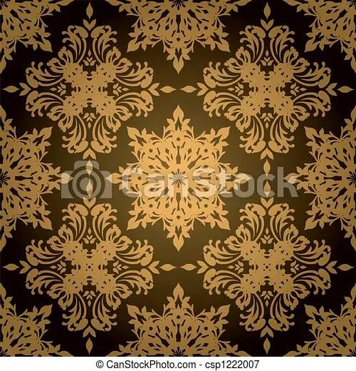 Spedizione e confezione regalo gratuite. Gotico Foglia Oro Stile Oro Carta Da Parati Gotico Disegno Ripetizioni Nero Canstock