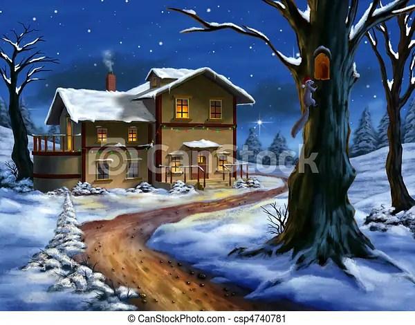 Natale paesaggio Paesaggio illustration dipinto
