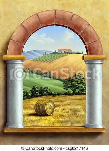 Paesaggio rurale Bello illustration dipinto mano attraverso finestra digitale toscano