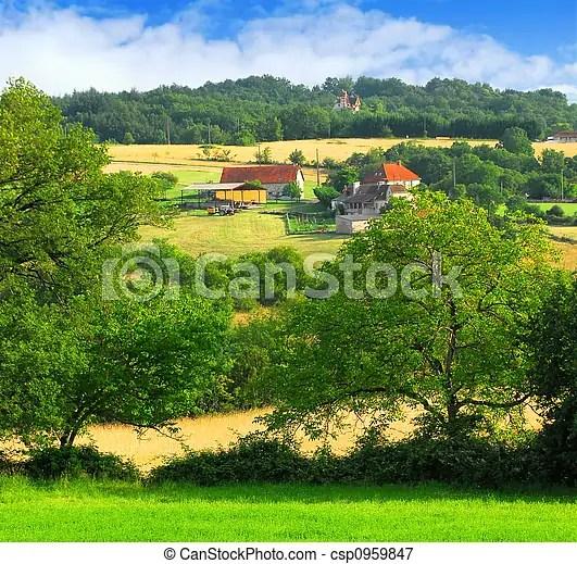 Paesaggio rurale Estate fattoria scenico francia agricolo rurale vista paesaggio granaio
