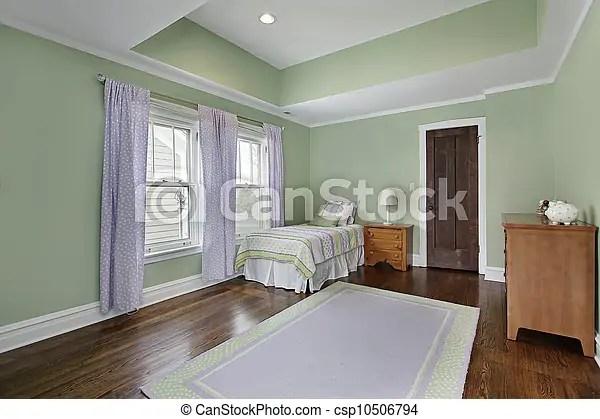 Colori della camera da letto per curare l'umore e cullare a fine giornata. Pareti Verde Camera Letto Casa Suburbano Verde Pareti Camera Letto Canstock