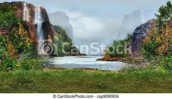 Posto romantico Cascate paesaggio fiori magico albero disegno  Cerca Illustrazioni Clip Art e Immagini Grafiche Vettoriali EPS  csp9090934