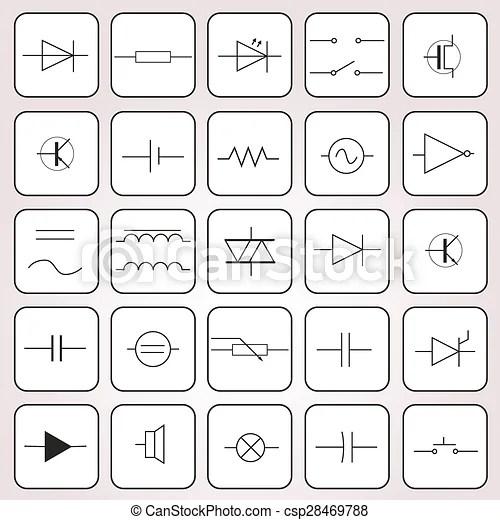 Set, eps10, simboli, ingegneria, elettrico, schematico.