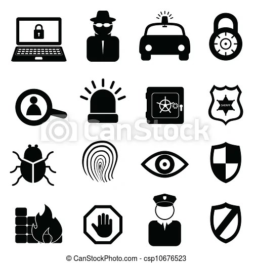 Sicurezza, set, icona. Sicurezza, set, sfondo bianco, icona.