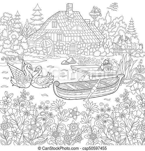 Stilizzato paesaggio rurale zentangle Schizzo casa
