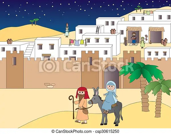 Viaggio betlemme Viaggiante giuseppe betlemme illustrazione mary