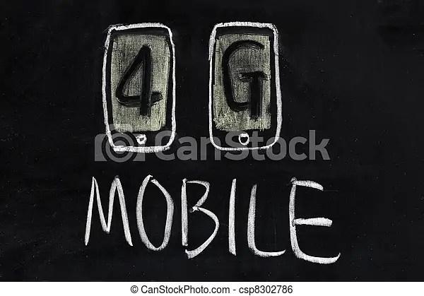 モビール, 4g, 技術コミュニケーション. 概念, 可動的なコミュニケーション, -, チョーク, 4g, 技術, 図畫.