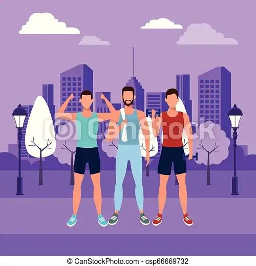 人の働くこと, から. グラフィック, 仕事, 重量, 紫色, 男性, 公園, avatars, イラスト, ベクトル, デザイン, 都市 ...
