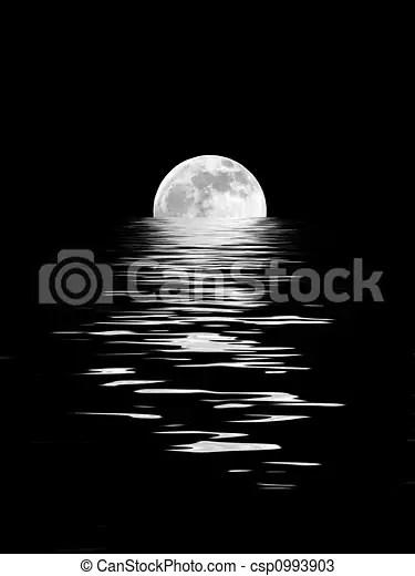月光. 美しさ. フルである. 分點. 春. 抽象的. 反映された. に対して. 月. 水. バックグラウンド。. セット. 黒 ...