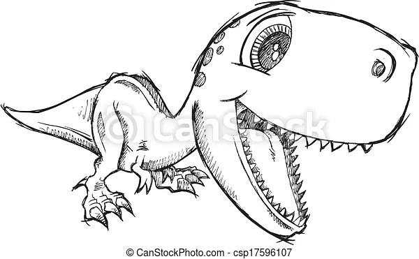 スケッチ, いたずら書き, Tyrannosaurus,... csp17596107のベクタークリップアート