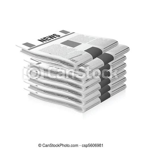 新聞 - イラスト. の. 新聞. 上に. 白. 背景 csp5606981のベクタークリップアート - クリップアート、イラスト ...