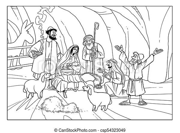 Bergers, jésus, story., joseph, marie, bébé, noël. Bergers