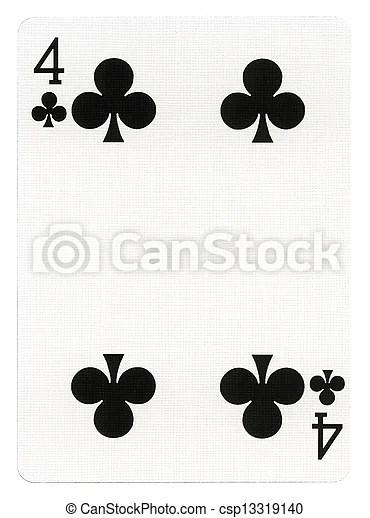 -, speelkaart, vier, klaveren. Kaart, spelend