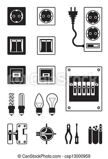 Clipart Vector van Elektrisch, netwerk, Artikelen