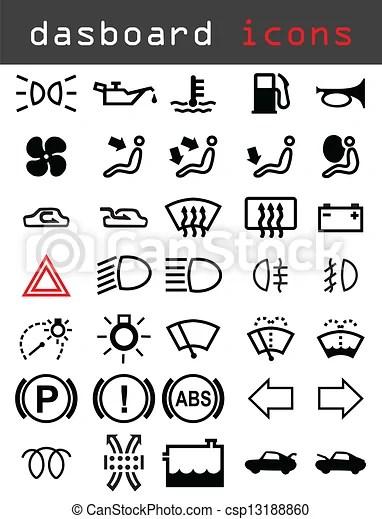 Clip Art Vector van dashboard, iconen, Tekens & Borden, en