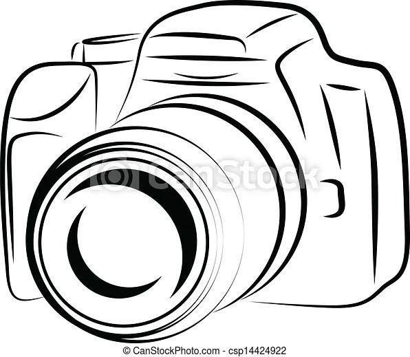 Vector Illustraie van fototoestel, omtrek, tekening