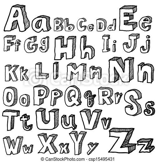 Lettertype, freehand, vector. Alphabet., vrijstaand