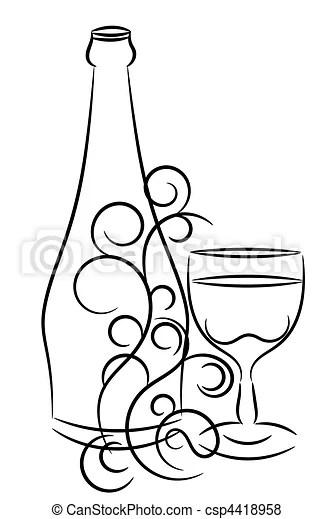 Wektory Wino, Butelka, Szkło csp4418958