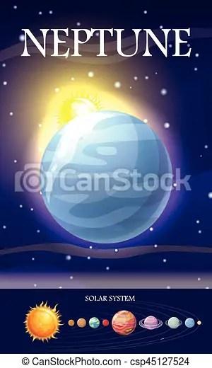 Neptunus Planet : neptunus, planet, Planet,, Neptunus,, System,, Sätta,, Orbit.,, Kvicksilver,, Venus,, Mull,, Uranus,, Mars,, Måne,, CanStock