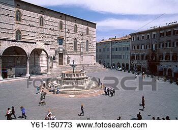 Stock Photo - fontana maggiore  and the cathedral  perugia italy.  fotosearch - search  stock photos,  pictures, images,  and photo clipart