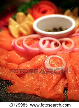Stock Image - smoked salmon  platter. fotosearch  - search stock  photos, pictures,  images, and photo  clipart
