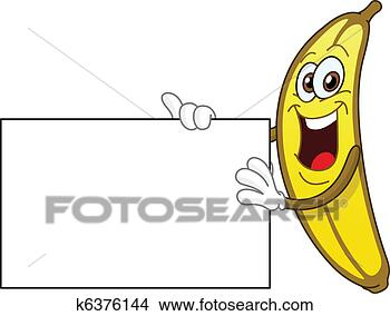 clipart of banana holding sign