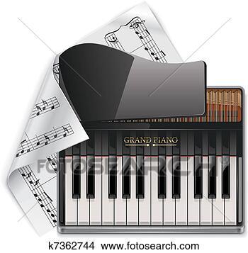 clipart of vector grand piano xxl