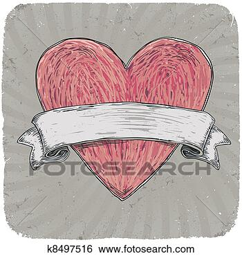 Stock Illustration of Retro styled tattoo heart with