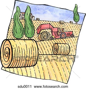 clipart of tractor rolling bales